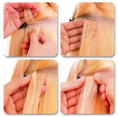 Холодное (ленточное) наращивание волос и их особенности